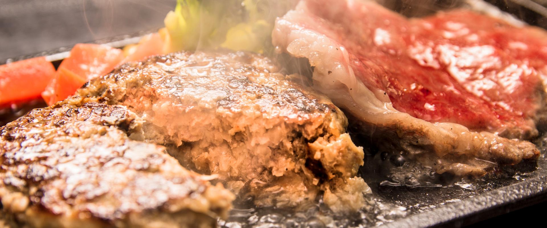 米沢牛使用のハンバーグとステーキ