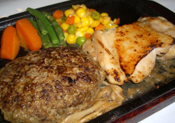 米沢牛ハンバーグとグリルチキンセット