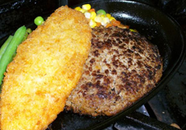 米沢牛ハンバーグと白身魚フライセット