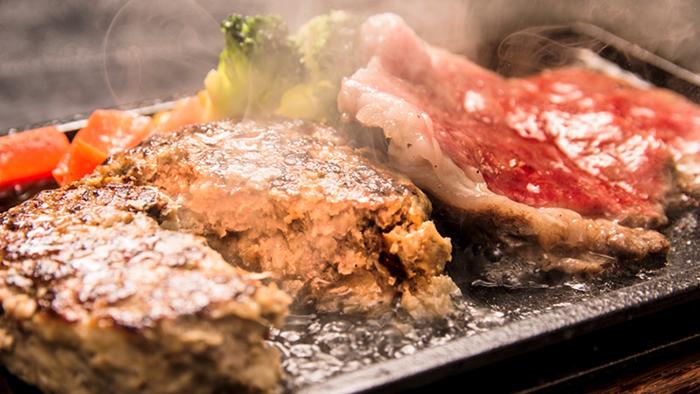 米沢牛サーロインステーキと米沢牛スパイシーハンバーグセット