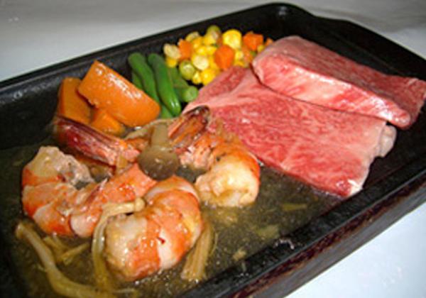 米沢牛サーロインステーキとグリルプリプリエビセット